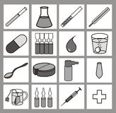 Healthcare iconset black-and-white. Iconset - 16 medical or pharmaceutical icons or cliparts, greyscale with black outlines on white background stock illustration