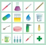 Healthcare iconset color. Iconset - 16 medical or pharmaceutical icons or cliparts, color with gradients on white background Stock Images