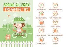 Healthcare infographic cartoon character about spring allergy pr. Healthcare infographic about spring allergy preparation tips Stock Image
