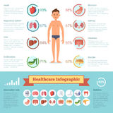 Healthcare infographic elements with human different organs set. Medicine vector illustrations Stock Images