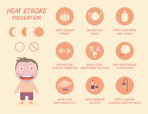 Healthcare infographics of heat stroke prevention. Stock Photos