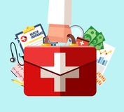 Healthcare insurance concept. First aid kit in doctor hand. Vector illustration in flat design. Medical help. Emergency services Stock Photo