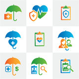 Healthcare Insurance Icons. Medical Healthcare Insurance Icons with Heart, EKG, people, and umbrellas Royalty Free Stock Image