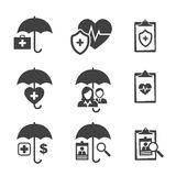 Healthcare Insurance Icons. Medical Healthcare Insurance Icons with People Figures , Umbrella, and Shield Royalty Free Stock Image