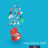 Healthcare, integrated 3d web icons. Growth and progress concept. Healthcare, integrated 3d web icons. Digital network isometric progress concept. Connected vector illustration