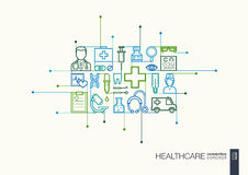 Healthcare integrated thin line symbols. Stock Photo