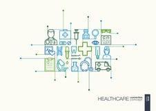Healthcare integrated thin line symbols. Stock Photo
