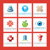 Healthcare Logos. An illustrated set of various logos for health-care and medical companies, isolated on red background Royalty Free Stock Photo