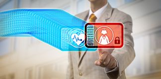 Healthcare Manager Accessing Latest Block Via DLT. Unrecognizable healthcare manager accessing the most recent record block in a medical blockchain. Healthcare royalty free stock photo