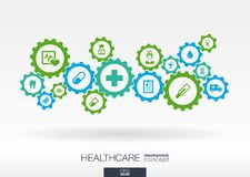 Healthcare mechanism concept. Abstract background with connected gears and icons for medical, health, care, medicine Stock Photo