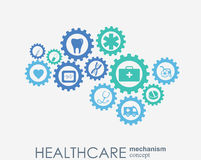 Healthcare mechanism concept. Abstract background with connected gears and icons for medical, health, strategy, care. Medicine, network, social media and stock illustration