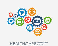 Healthcare mechanism concept. Abstract background with connected gears and icons for medical, health, strategy, care. Medicine, network, social media and royalty free illustration