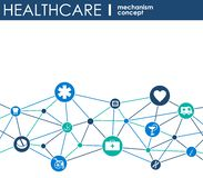 Healthcare mechanism concept. Abstract background with connected gears and icons for medical, health, strategy, care, medicine, ne. Twork, social media and stock illustration
