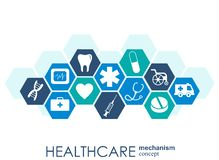 Healthcare mechanism concept. Abstract background with connected gears and icons for medical, health, strategy, care, medicine, ne. Twork, social media and royalty free illustration