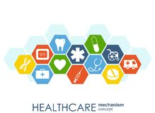 Healthcare mechanism concept. Abstract background with connected gears and icons for medical, health, strategy, care, medicine, ne. Twork, social media and Royalty Free Stock Photos