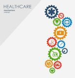 Healthcare mechanism concept. Abstract background with connected gears and icons for medical, strategy, health, care. Medicine, network, social media and Stock Image