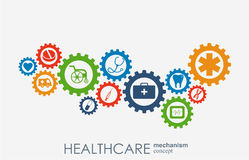 Healthcare mechanism concept. Abstract background with connected gears and icons for medical, strategy, health, care. Medicine, network, social media and Royalty Free Stock Image