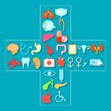 Healthcare and Medical. Illustration of Healthcare and Medical icon forming cross shape Stock Images