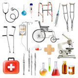 Healthcare Medical Accessories Flat Icons Set Royalty Free Stock Photos