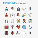 Healthcare and Medical Colorful Flat Line Icons Set. Vector Set of 25 Medicine and Health Modern Thin Outline Icons for Web and Mobile. Linear Icons Collection Stock Images