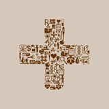 Healthcare and Medical Concept. Healthcare and medical icon forming cross symbol Stock Images