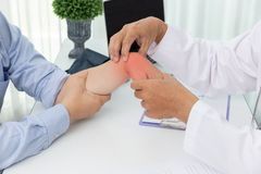 Healthcare and medical concept, Doctor explain wrist pain symptoms and medical treatment to patient in hospital.  royalty free stock images