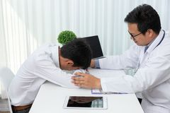 Healthcare and medical concept, Doctor try to comforting after explain symptoms and medical treatment to patient in hospital.  stock images