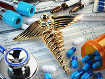 Healthcare medical concept. Pills, capsules, stethoscope, syring Stock Photography
