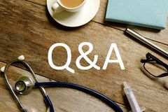 Healthcare and medical concept. Questions and answers. stock image