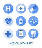 Healthcare and Medical Flat Icons Set Stock Photography