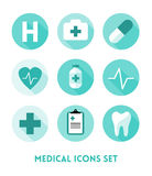 Healthcare and Medical Flat Icons Set Stock Photo