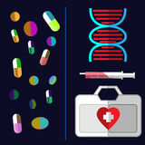 Healthcare medical flyer. Medical Equipment and Drugs. Colorful Pills Falling. DNA strand with a syringe and medical suitcase. Vector digital healthcare Stock Photography