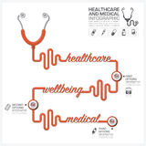 Healthcare And Medical Infographic With Stethoscope Timeline Dia Stock Photos