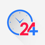Healthcare and medical long shadow icon with clocks. Healthcare and medical long shadow icon of twenty four hours service with clocks. Flat style concept of Royalty Free Stock Photos