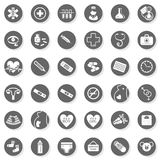 36 healthcare medical monochrome button set. 36 healthcare medical woman pregnancy baby monochrome isolated gray flat icon set with light shadow on white Royalty Free Stock Photos