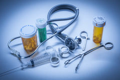Healthcare medical objects in blue Stock Image