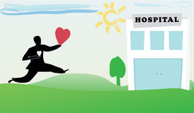 Healthcare and medical - Organ donation. Illustration of a cartoon man runing to a hospital to donate his heart cutted form his chest Royalty Free Stock Photo