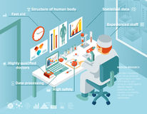 Healthcare and medical research infographics. Healthcare and medical infographics. Doctor sits in the laboratory and research. Vector illustration Royalty Free Stock Photo