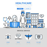 Healthcare medical service concept flat line art vector icons Stock Photos