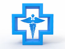Healthcare and medical symbol. Caduseus in cross. 3d Stock Images