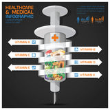 Healthcare And Medical Syringe Of Vitamin With Spiral Arrow Diag Royalty Free Stock Images