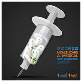 Healthcare And Medical Vitamin Pill Capsule With Syringe Infographic royalty free illustration