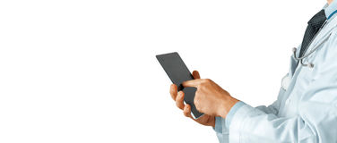 Healthcare And Medicine. Doctor using a digital tablet royalty free stock photography
