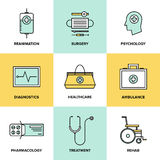 Healthcare and medicine flat icons set Stock Photography