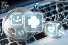 Healthcare and medicine. Technology repairing computer data globe it support royalty free stock images