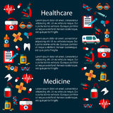 Healthcare and medicine infographic template. That includes heart with pulse and tablet or pill, first aid kit and glasses, sticking plaster or adhesive bandage Stock Photos