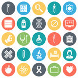 Healthcare and Medicine Minimal Icon Set. Healthcare and medicine round vector icons collection in pastel colors.  on white background Stock Photography