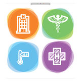 Healthcare. Medicine and healthcare theme - hospital building, medicine sign, thermometer, hospital sign Royalty Free Stock Photography
