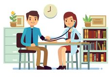 Healthcare and medicine vector concept with doctor checking patients blood pressure. Doctor check pressure patient illustration Stock Photo