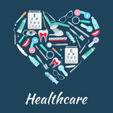 Healthcare medicines vector heart poster Royalty Free Stock Photography